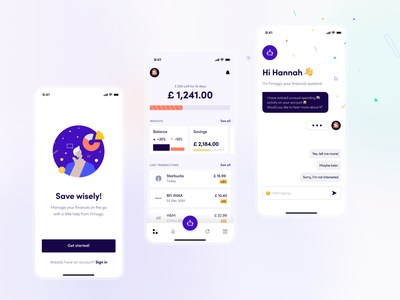 Fimago - Saving expert! #1 mobile assistant chart dashboard overview finance transactions bot geometric flat illustration chatbot onboarding illustration money saving banking fintech ux ui