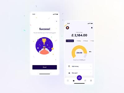 Fimago - Saving expert! #2 flat illustration finance money saving goals pie chart chart success simple geometric chat bot bot saving mobile banking fintech ui illustration