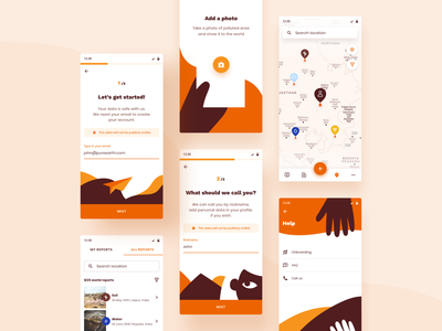 Report Pollution - App map ui register product illustration ux pollution report earth sustainability mobile ui ui mobile app web design typography product design print mobile illustration branding animation
