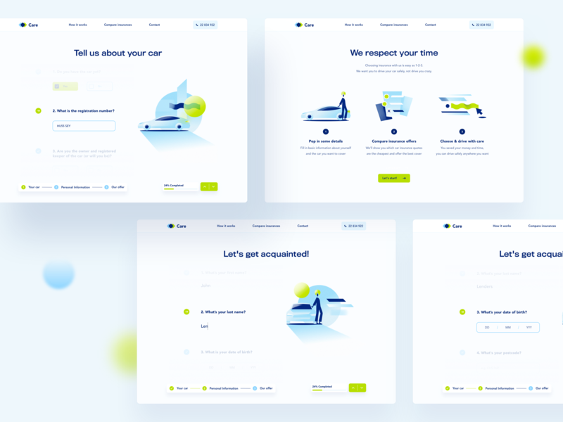 Care - Car Insurance icons form safety ui ux  ui user interface animation print mobile typography web design driver car green blue branding product illustration product design illustration insurance
