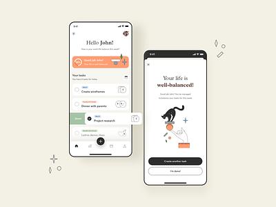 Work-life Balance app typography ux vector print web design branding animation balance to do list productivity app design ui illustration