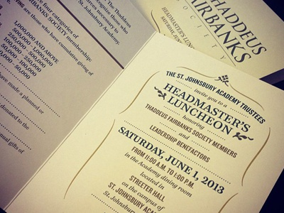 Completed Fairbanks Luncheon Invitation