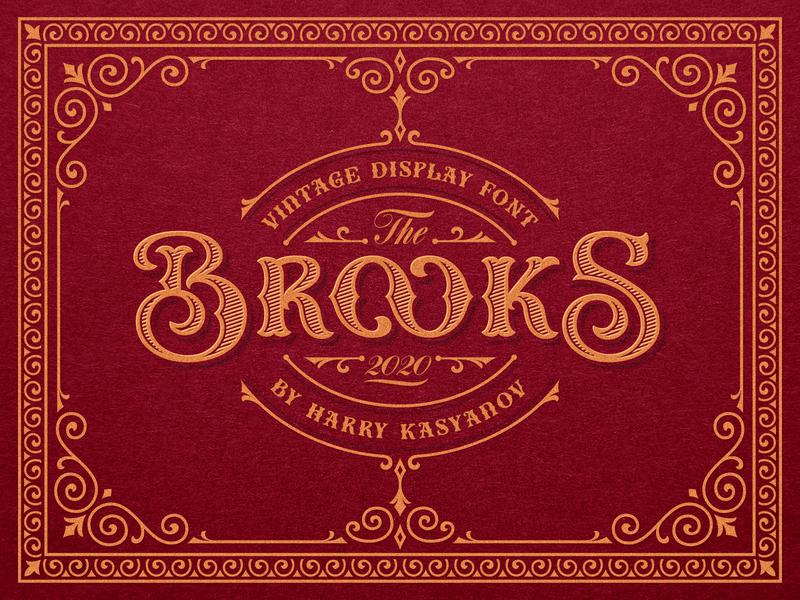 Brooks Vintage Font Family label design whiskey alchohol harry kasyanov barbershop tattoo studio serif logo lettering vinntage packaging font