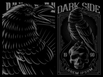 Raven on the skull
