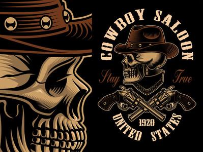 Cowboy Skull handgun design cowboy vector skull harry kasyanov