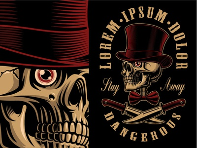 Skull In Top Hat With Knives