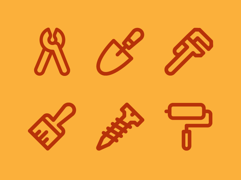 Construction & Tool Icons line brush maintenance repair paint construction line icons tool line icon iconography vector icon