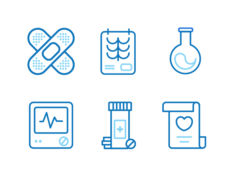 Health Icons bandaid medication xray health line icons heartbeat medical health icon design iconography vector icon
