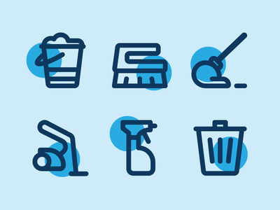 Cleaning Icons iconography cleaning line icons clean trash spray vacuum cleaner mop rub bucket illustration vector icon