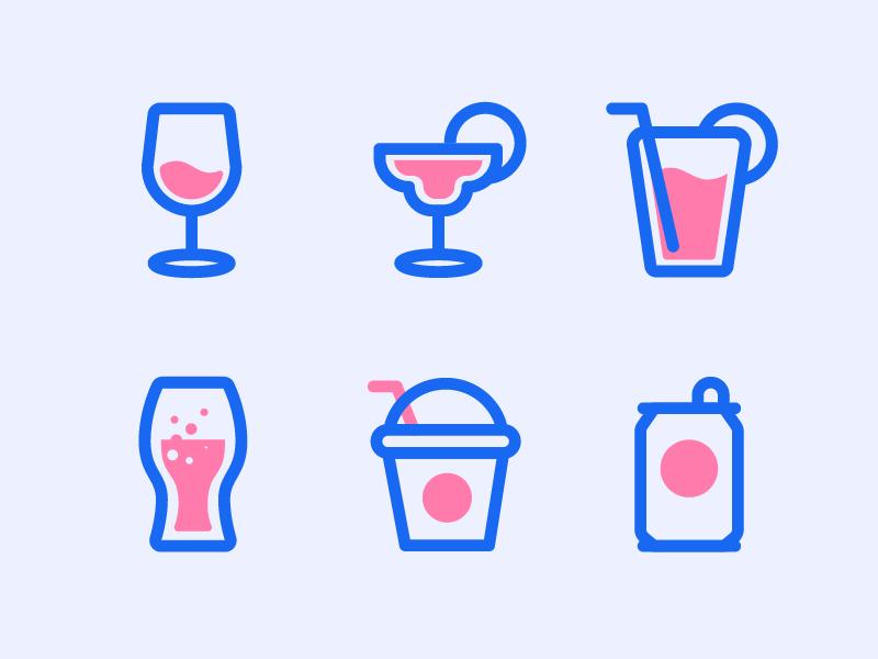 Beverage Icons iconography cocktail coke beer milkshake matini wine illustration icons icon