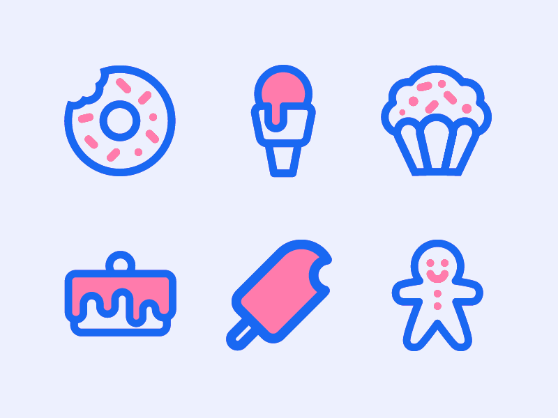 Sweet Icons line sweet icons cookie cake cupcake ice cream donut icon design iconography vector icon