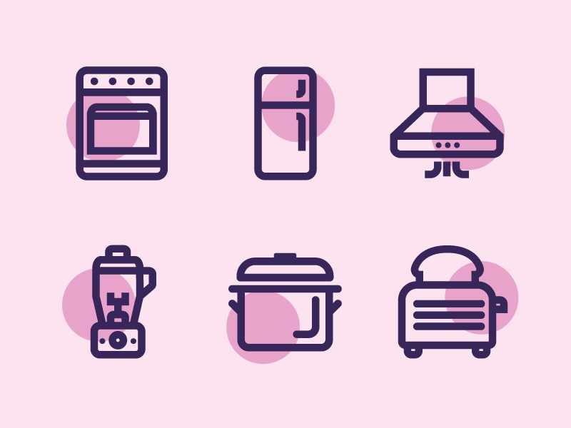 Kitchen Icons line kitchen icons shrouding pan toaster mixer fridge oven icon design iconography vector icon