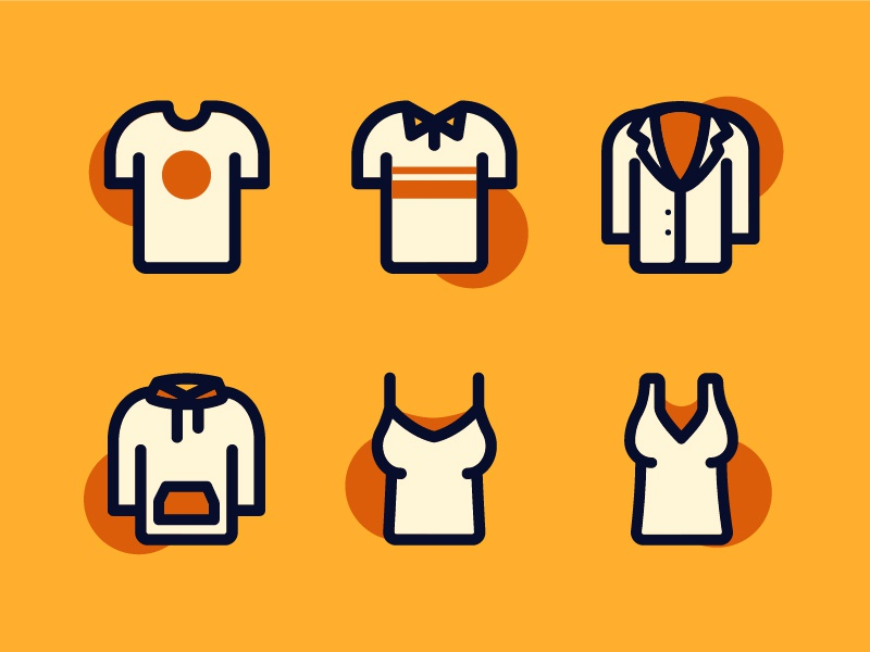 Fashion Icons - Tops fashion blouse tank top hoodie suit shirt tshirt cloth line icons vector icons iconography icon