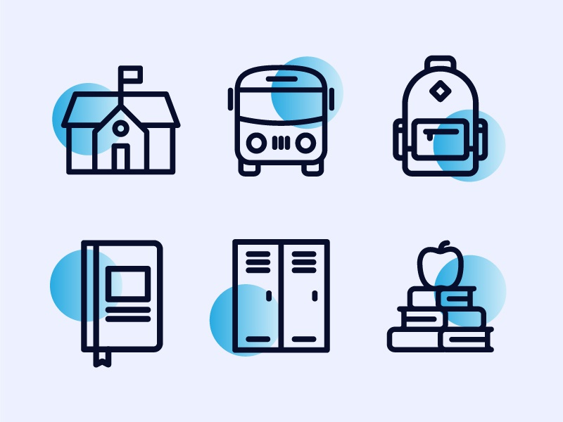 Back to School Education Icons illustration apple closet book backpack bus school education line icons vector icons iconography icon