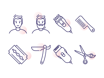 Barbershop Icons haricut scissors clipper razor comb barbershop barber icon design illustration icons iconography vector icon