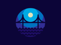 Night Bridge wave bridge thicklines illustration iconography vector icon