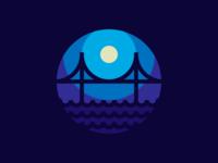 Night Bridge wave bridge thicklines illustration iconography vector icon