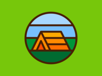 Camping thicklines iconography vector icon tent camp camping