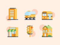 Ciy Life Icons traffic light taxi train store building illustration icons vector icon life city