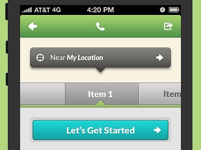 App UI Elements app design ui buttons header icons caption callout inset