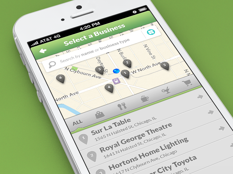 Business Select iphone ios app green grey map pin list categories