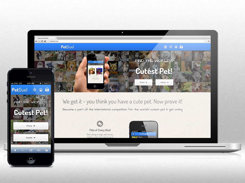 PetDuel Launch petduel iphone app retina pets responsive web