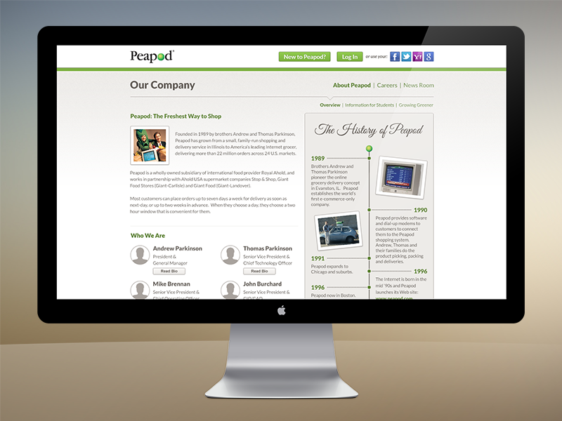 Peapod - Our Company peapod web design homepage css3 ecommerce