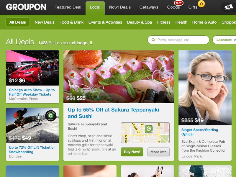 Groupon Flow Concept groupon ecommerce grid redesign concept deals
