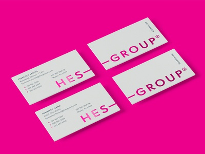 HES Group — Business Cards miami hospitality hotel corporate logo foil magenta