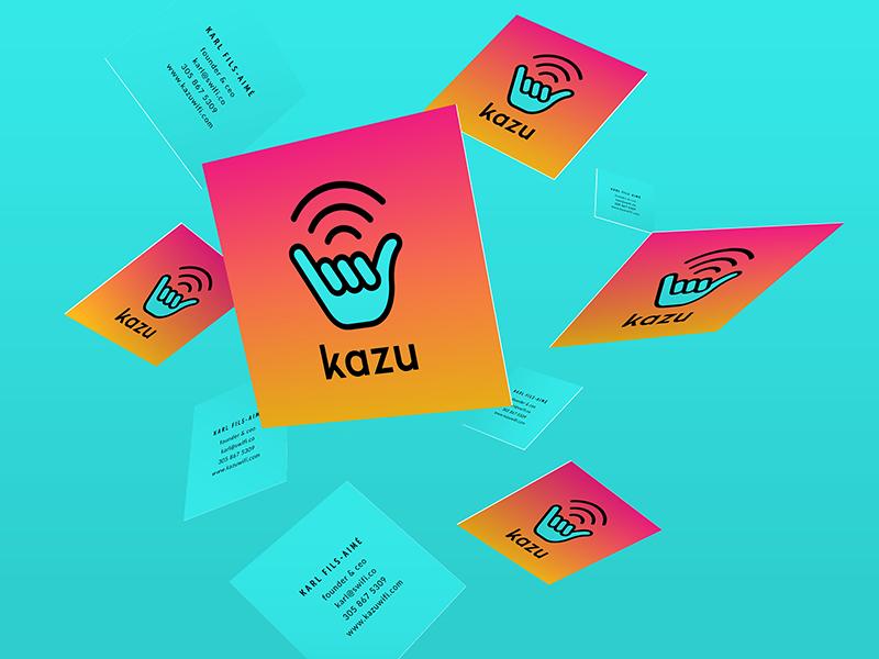 Kazu — Business Cards wifi hang loose shaka teal gradient orange vibrant corporate id business cards