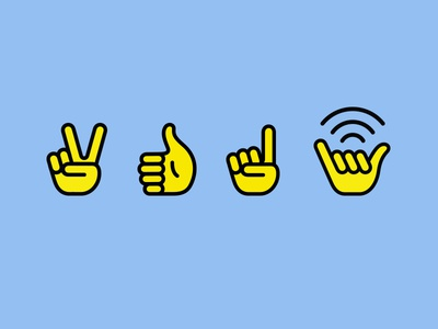 Kazu — Icons iconography good vibes free wifi chill peace thumbs up hang loose hands