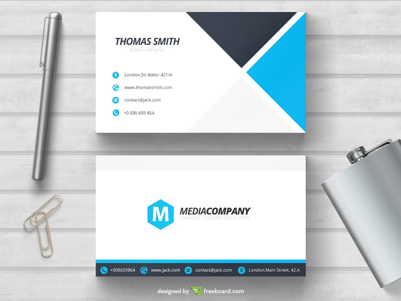 blue minimal business card template by freebcard com dribbble