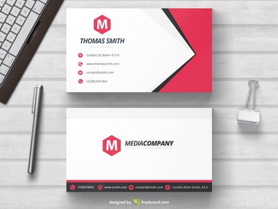 Minimal red business card template freebcard free card design free template business card