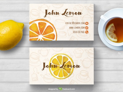 Tea Business card template lemon tea freebcard free card design free template business card