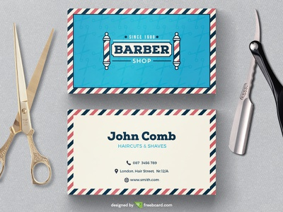 Barber shop business card template cut hair barber freebcard free card design free template business card