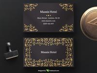Black golden floral business card template