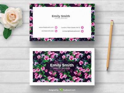 Floral business card template floral woman website card print business card business card templates freebie