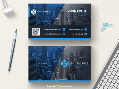 Minimal blue corporate business card template (Free Download) visit card. print name card psd free download minimal business card blue