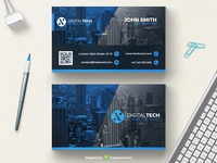 Minimal blue corporate business card template (Free Download)
