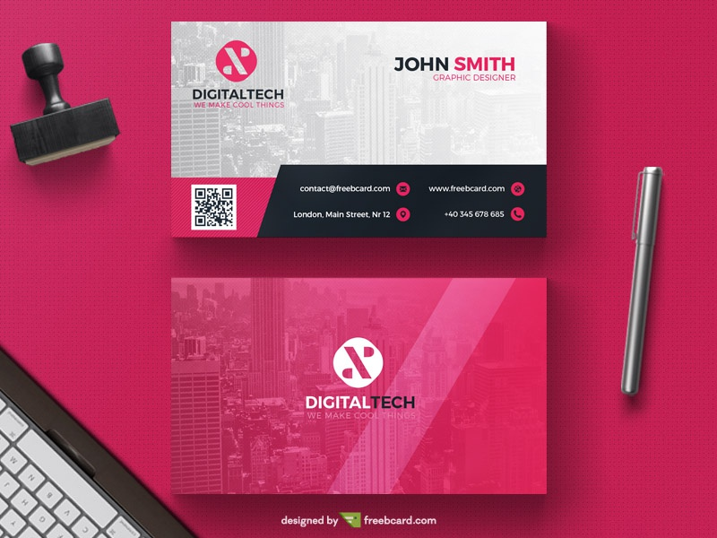 Corporate Red Business Card Template By Freebcard Dribbble