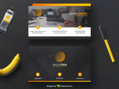 Orange corporate business card template (Free Download) banana pen office orange freebcard free card design free template business card