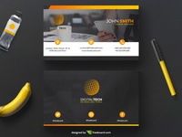 Orange corporate business card template (Free Download)
