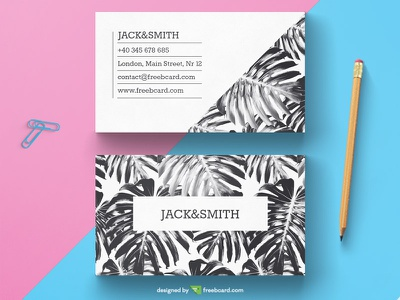 Black & White Tropical Business Card Template ( Free Download ) leaf tropical business card template print white black