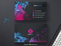 Dark business card with ink drop