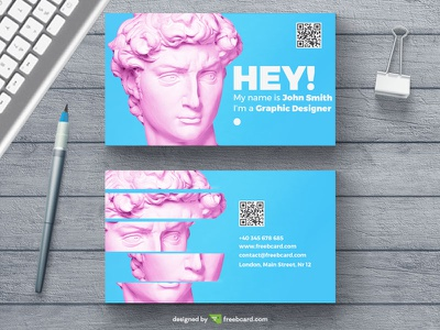 Creative business card template ( Free Download ) pink blue free download template business card minimal
