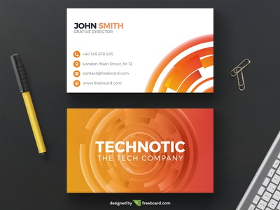 Corporate orange tech business card tech identity design free download template card business