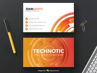 Corporate orange tech business card