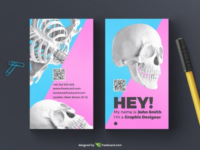 Creative skull business card template magenta blue photoshop freebcard download free template card business bone skull