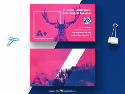 Purple creative business card template (Free Download) deer nature freebcard free card design free template business card