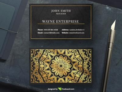 Golden Mandala Business Card (free download) paper print luxury black pattern india template psd gold business card mandala